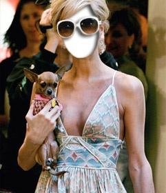 #fotomontaje Fotoefecto para poner tu cara con el cuerpo de Paris #Hilton con su inseparable perro #chiguagua. www.fotoefectos.com