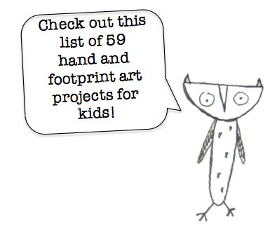 59 hand & foot print art projects for kids including animals, insects, holidays, and water creatures