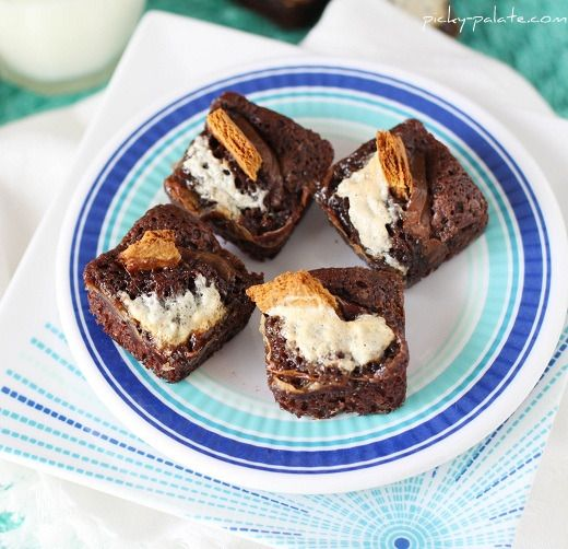 Smores Stuffed Brownies (make in Wilton square silicone brownie mold ...