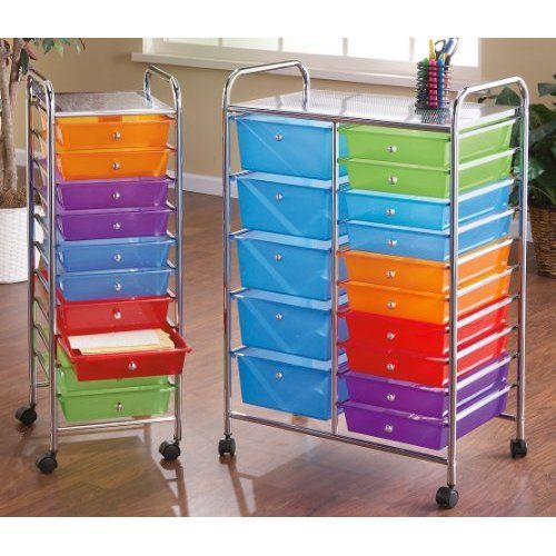 10 drawer rolling storage cart home craft room pinterest for Rolling craft cart with drawers