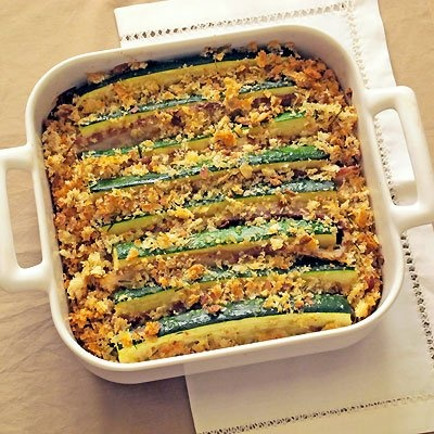 Baked Zucchini with Pancetta & Bread Crumbs