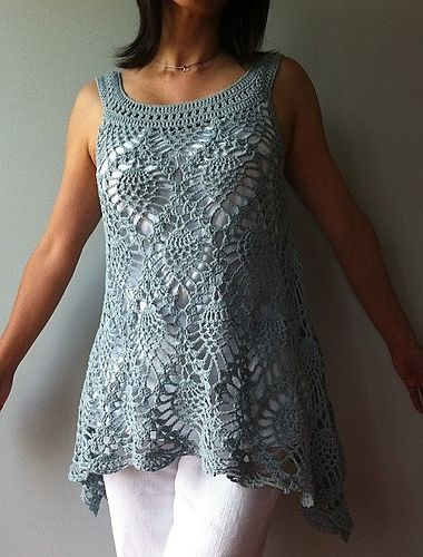 Free Crochet Patterns For Sleeveless Tops : Jordan - sleeveless pineapple top pattern by Vicky Chan