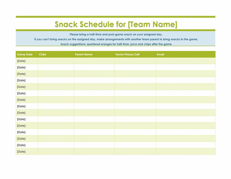 Printable Snack Sign Up Sheet | Search Results | Calendar 2015