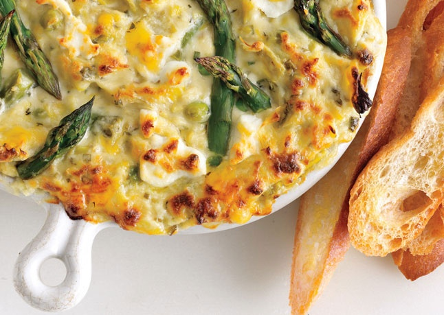Spring vegetable and goat cheese dip. Yum!