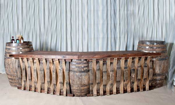 rustic whiskey barrel furniture ideas Bar for outside
