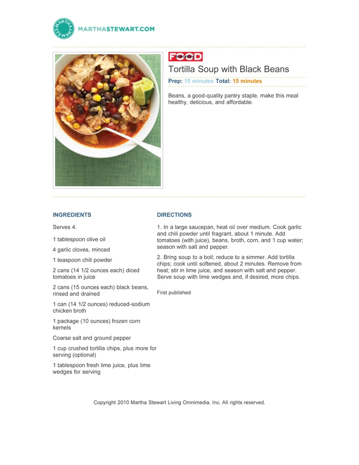 Tortilla Soup with Black Beans | Soup du jour | Pinterest
