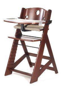 Keekaroo height right high chair with tray mahogany