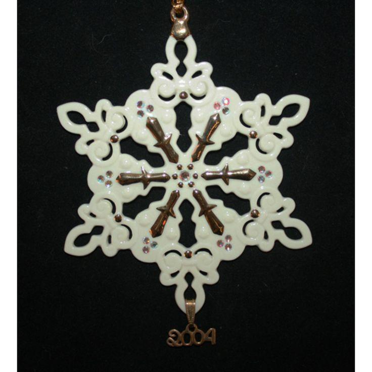 2004 lenox annual china snowflake ornament swarovski