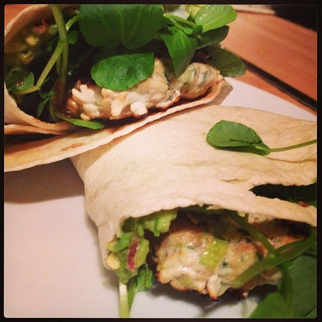 Spicy turkey burger & guacamole wraps. Healthy eating really isn't so...