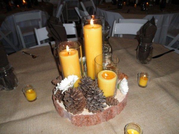 Yellow amp pine cone reception centerpiece wedding party ideas pint