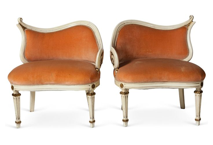 Hollywood Regency Style Chairs Pair