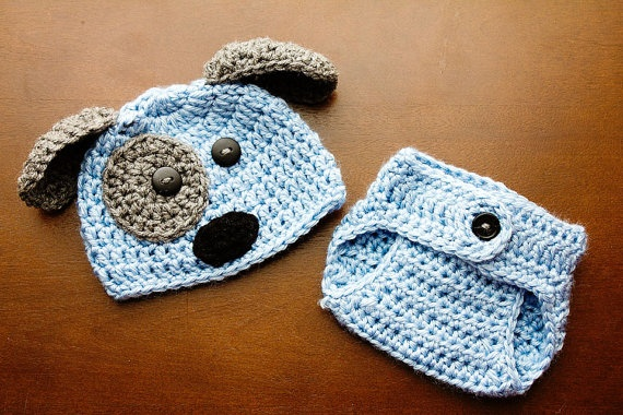 Crochet Dog Hat And Diaper Cover Pattern : Crochet Newborn baby boy Puppy Hat and Diaper Cover, PHOTO ...