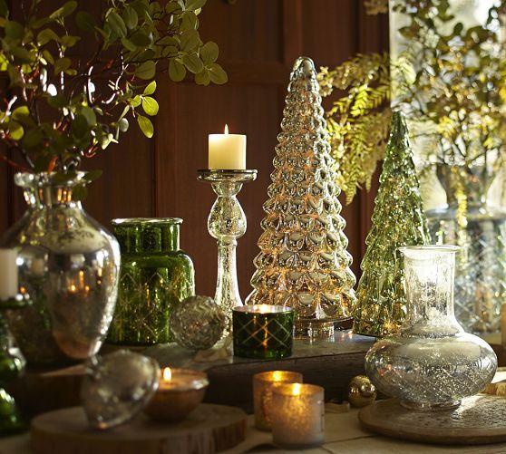Green mercury glass trees pottery barn pinterest