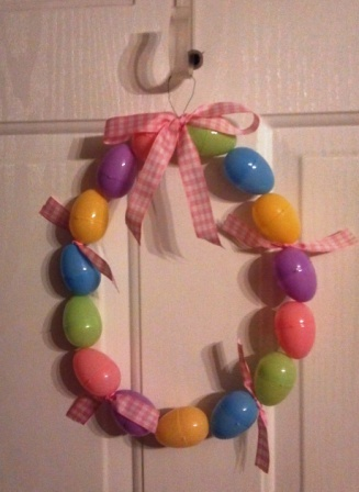 Easter egg wreath. Eggs, floral wire and ribbon from Walmart. Total cost $6.00. For instructions to make this, visit http://mamawsplace4.blogspot.com/2012/03/easter-craft-projects.html