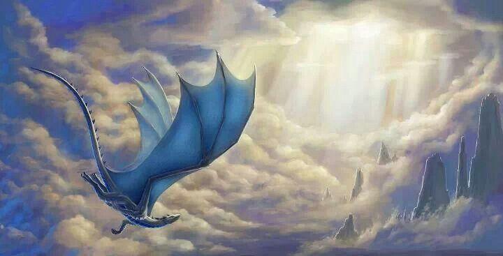 Blue dragon in flight | Dragons | Pinterest