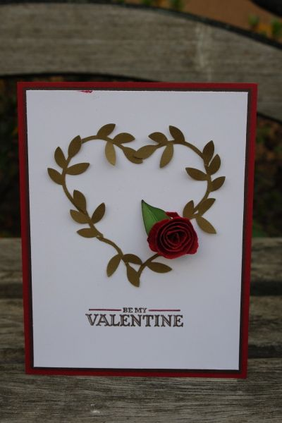 Stampin' Up! Bird Punch Ho-kyung Shin Valentine Wreath simple Effective card.