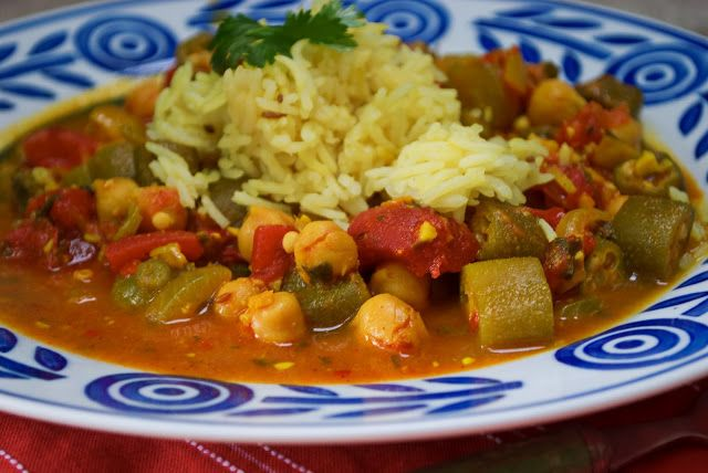 Curried Okra, Tomatoes and Chickpeas | Food, glorious food! | Pintere ...