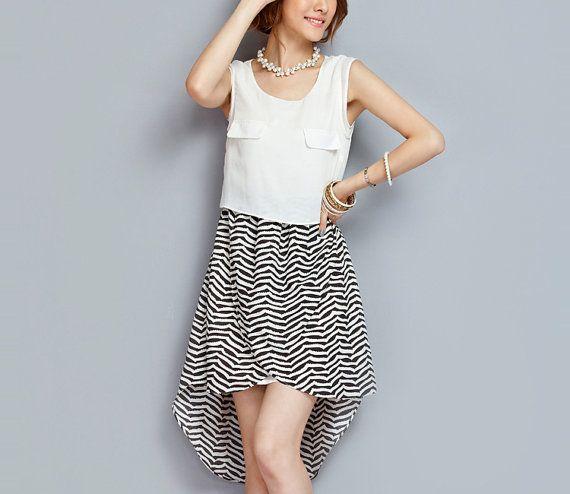 Black white chiffon dress stripe dress womens dress sleeveless dress