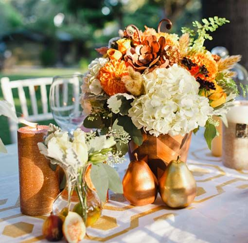 Inspirations, Gold, Copper And Orange Tablescape Colors: Fall wedding inspiration