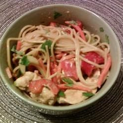 Pasta, Chicken Noodle Salad With Peanut Ginger Dressing, Asian Flavors ...