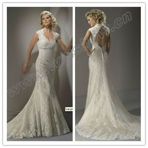 Lace Wedding Dresses Cap Sleeves Open Back - Overlay Wedding Dresses