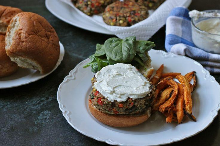 Quinoa Veggie Burgers with Whipped Feta on an Udi's bun