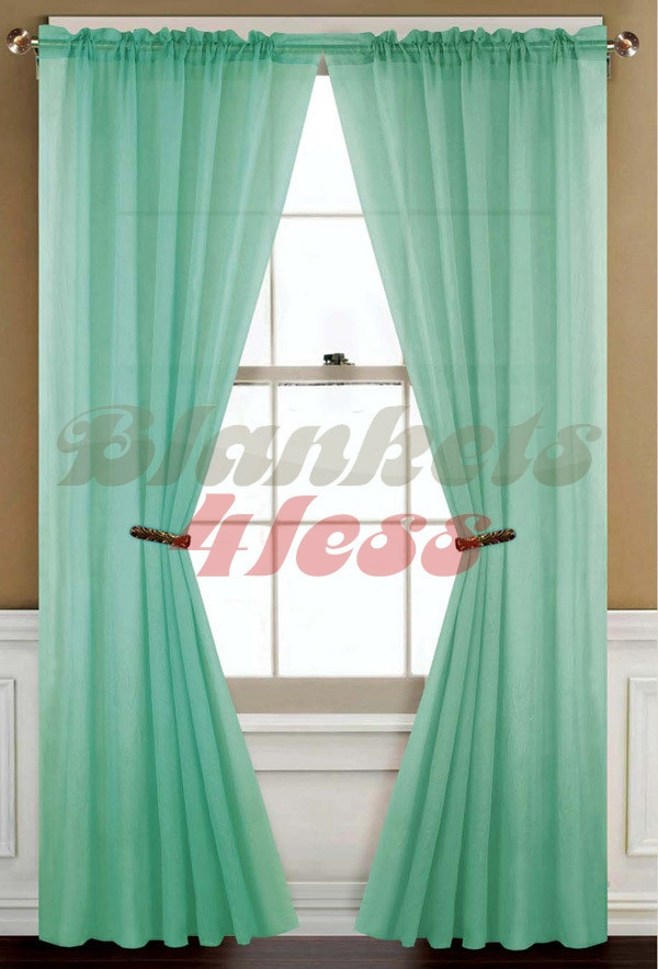 Mint green solid 1 sheer window curtain panel brand new