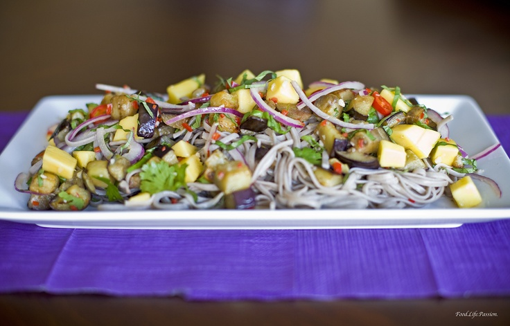 Chilled Soba Noodles with Mango and Eggplant - Something different