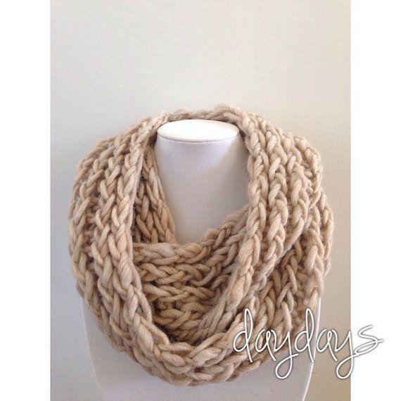 Light tan chunky knit infinity scarf