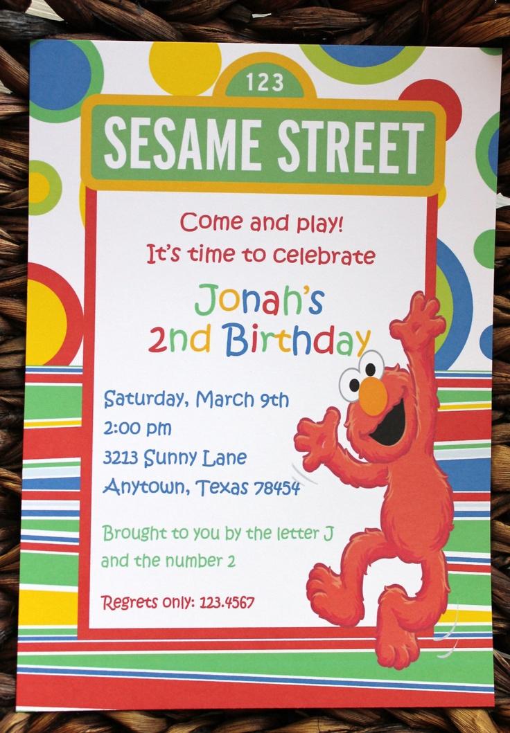 Sesame Street Elmo Birthday Invitations