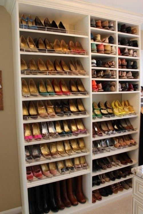 Walk in shoe closet step into my closet pinterest for Walk in shoe closet