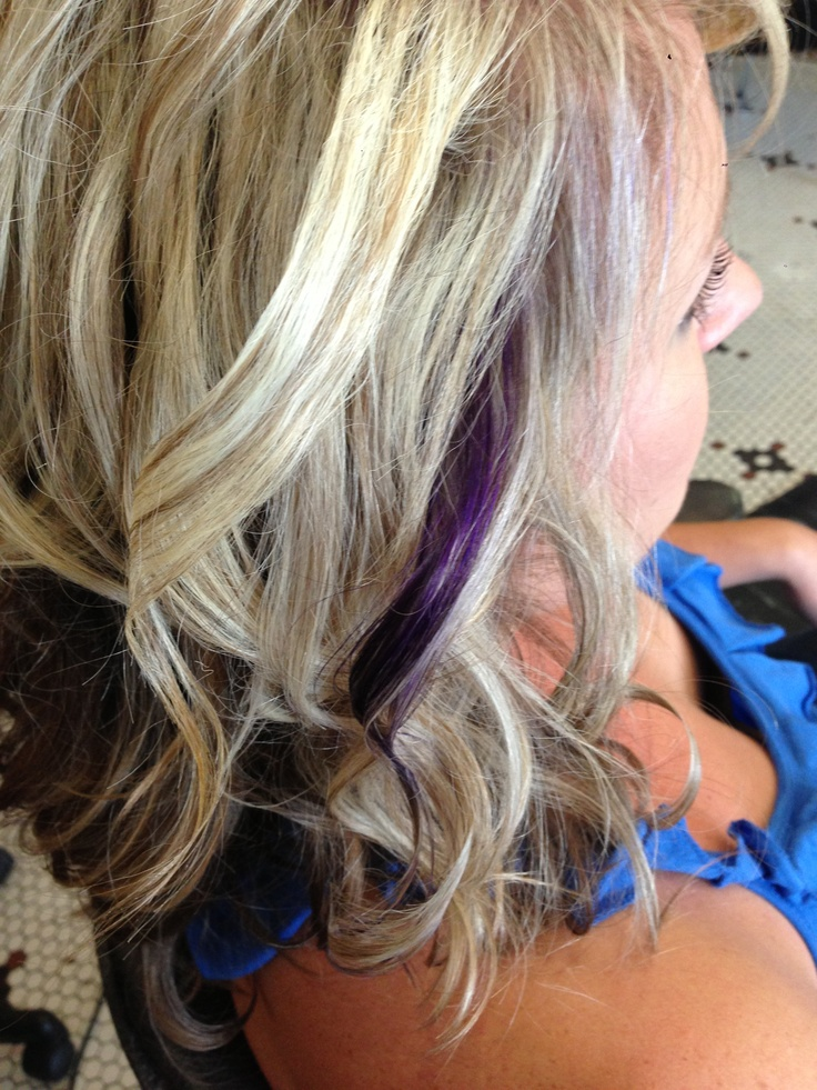 Blonde highlights with purple accent | Hair | Pinterest