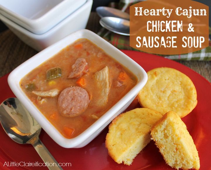 Chicken & Sausage Soup Recipe at ALittleClaireification.com #soup ...