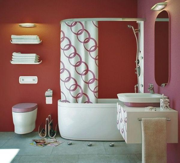 Schöne badideen bunte wandgestaltung und lustige gardinen 77