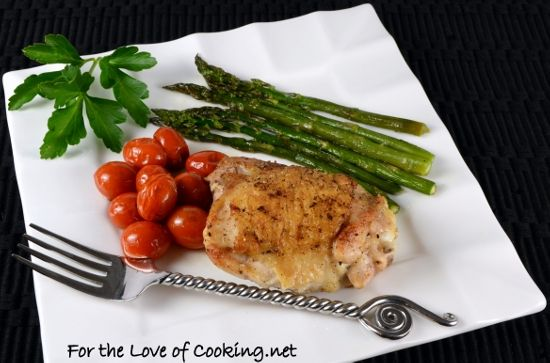 Simple Chicken Thighs with Roasted Asparagus and Tomatoes - A one pot ...
