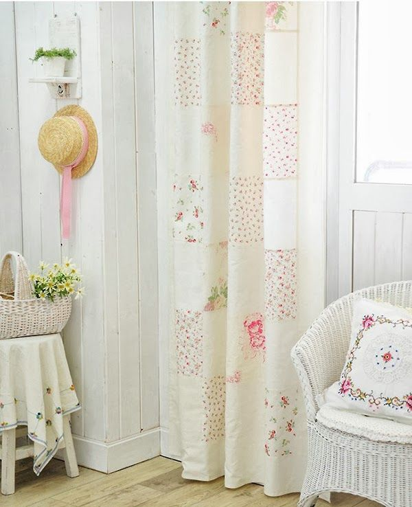 Patchwork Linen Curtains hanging in shabby chic living room