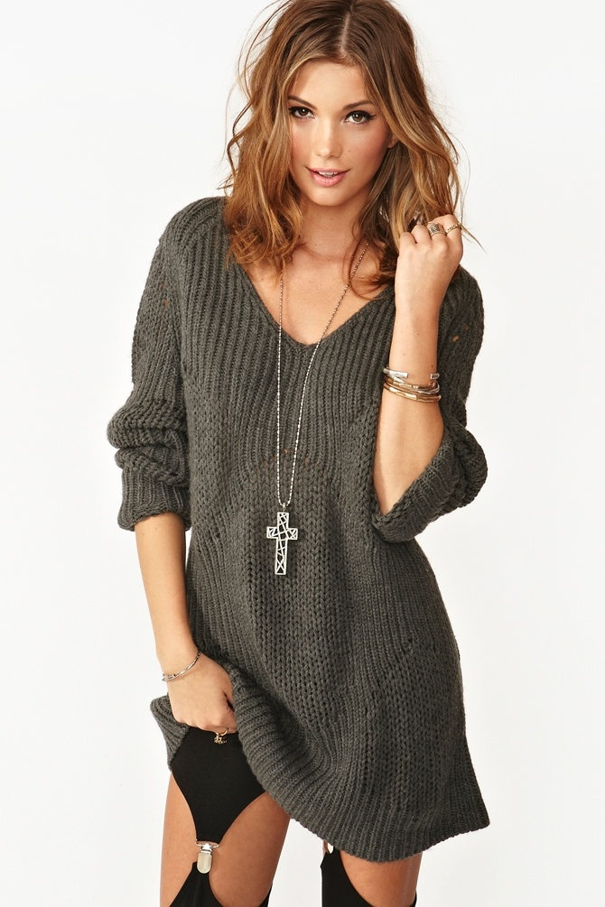 Chunky charcoal knit featuring neckline