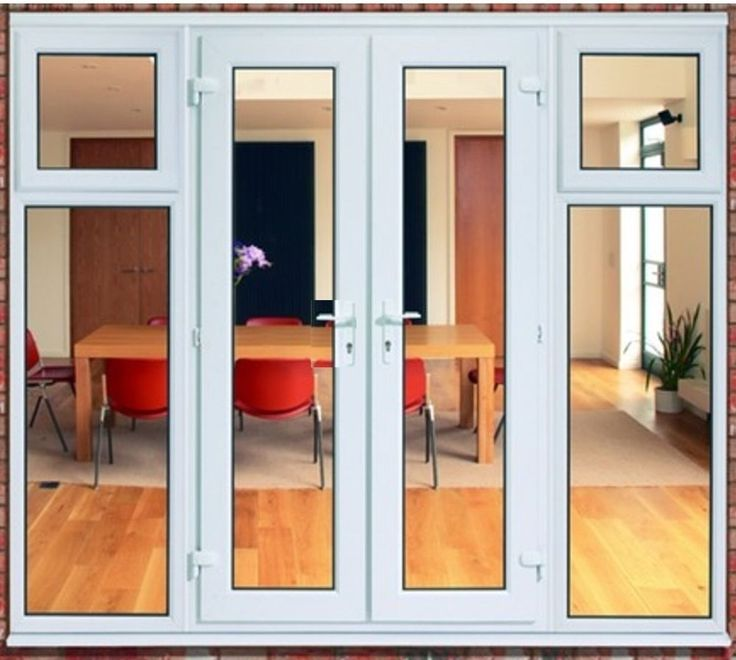 White upvc french door and side panels with opening for French doors with side windows that open
