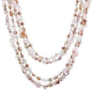 Sofia quot 2 strand rose quartz and ultra iridescent pink cultured pearl