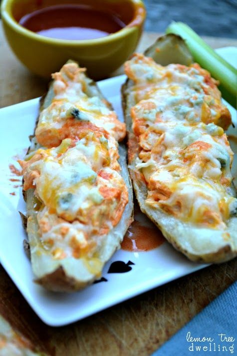 These were awesome! Buffalo Chicken Potato Skins