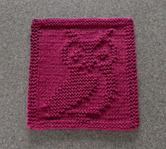 Knit Pattern For Owl Dishcloth : Knit Dishcloth OWL - Hand Knitted Unique Design - Maroon ...