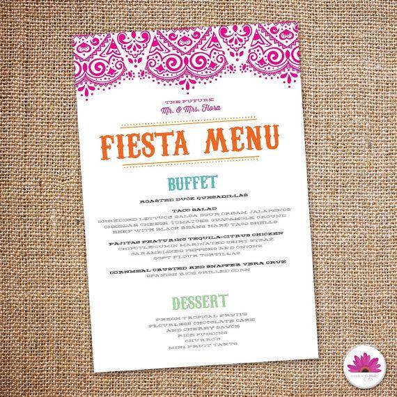 Fiesta Rehearsal Dinner Menu (Digital file): pinterest.com/pin/355573333053727844