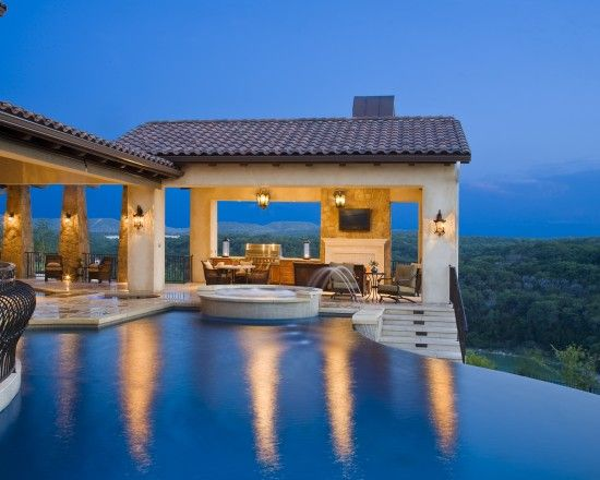 Pool | What an amazing pool! Great infinity pool design and the cabana is a perfect addition to this dream home!