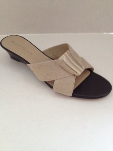 Ellen Tracy Shoes Womens Size 8 Heels Justin Beige Wedge Slides 8M Tan