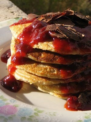Sourdough pancakes with warm Ginger-Apricot Cherry sauce and Bavarian ...