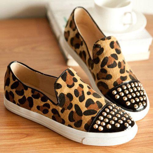 Women's Leopard Print Flat Shoes with Rivets Detail