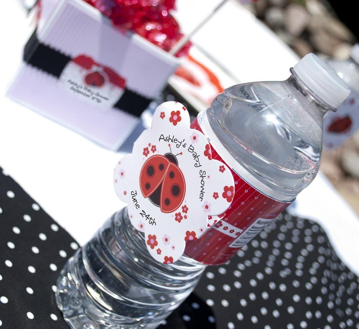 ladybug water bottle labels personalized baby shower favors
