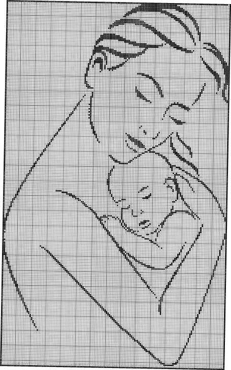 Вышивка малыш монохром 27