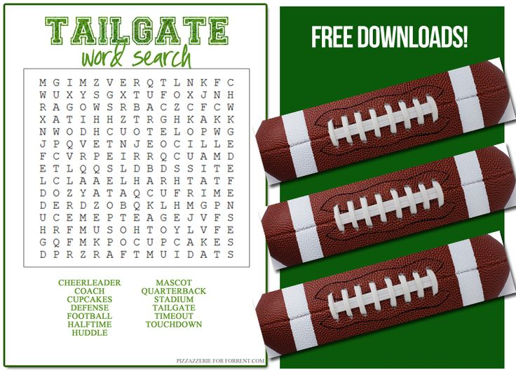 Printables & Spelling practice with Football word search