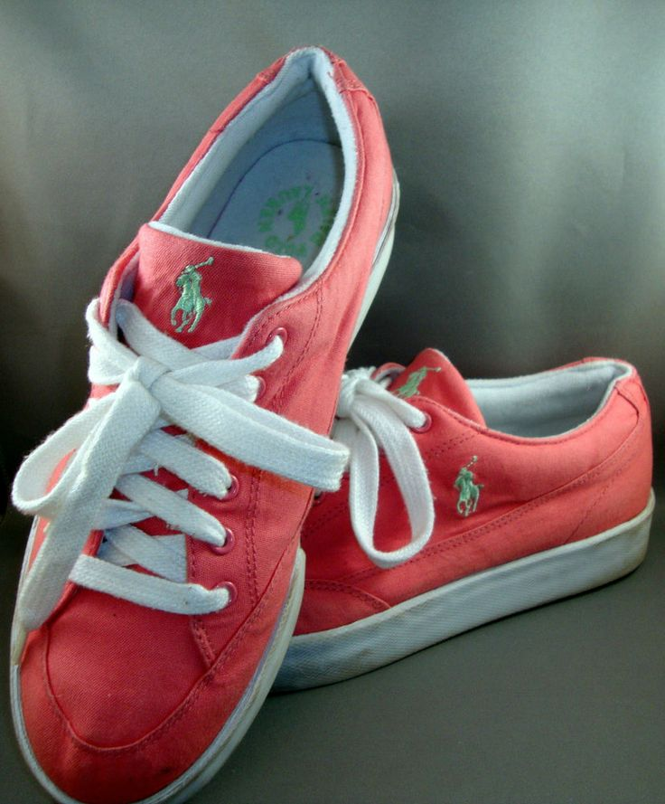 Polo Ralph Lauren Womens Pink Fabric Low Top Tennis Shoes 10B Med